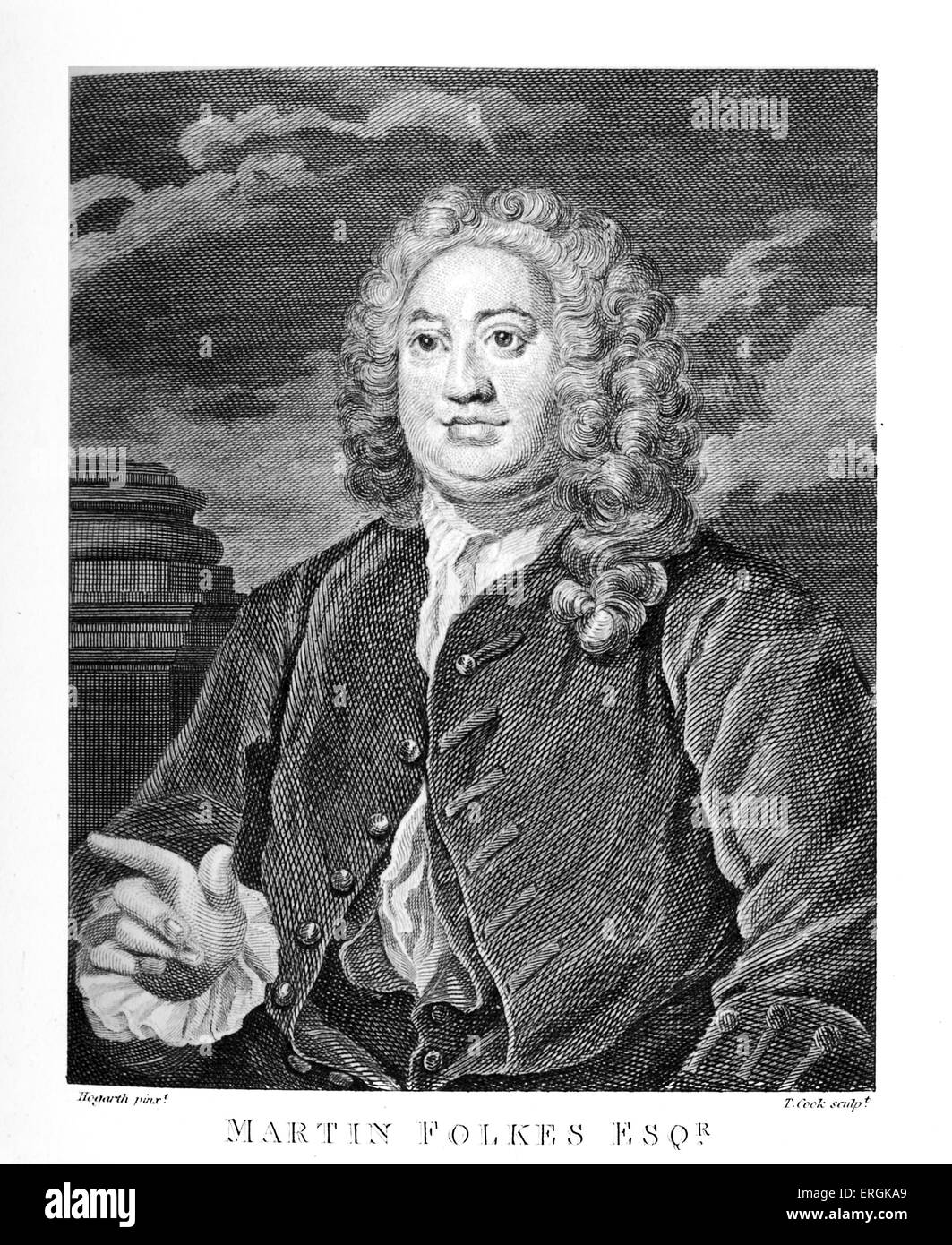 Martin Folkes esq. by William Hogarth, 1742. Folkes (1690-1754) was president of the Royal Society and vice-president - Stock Image