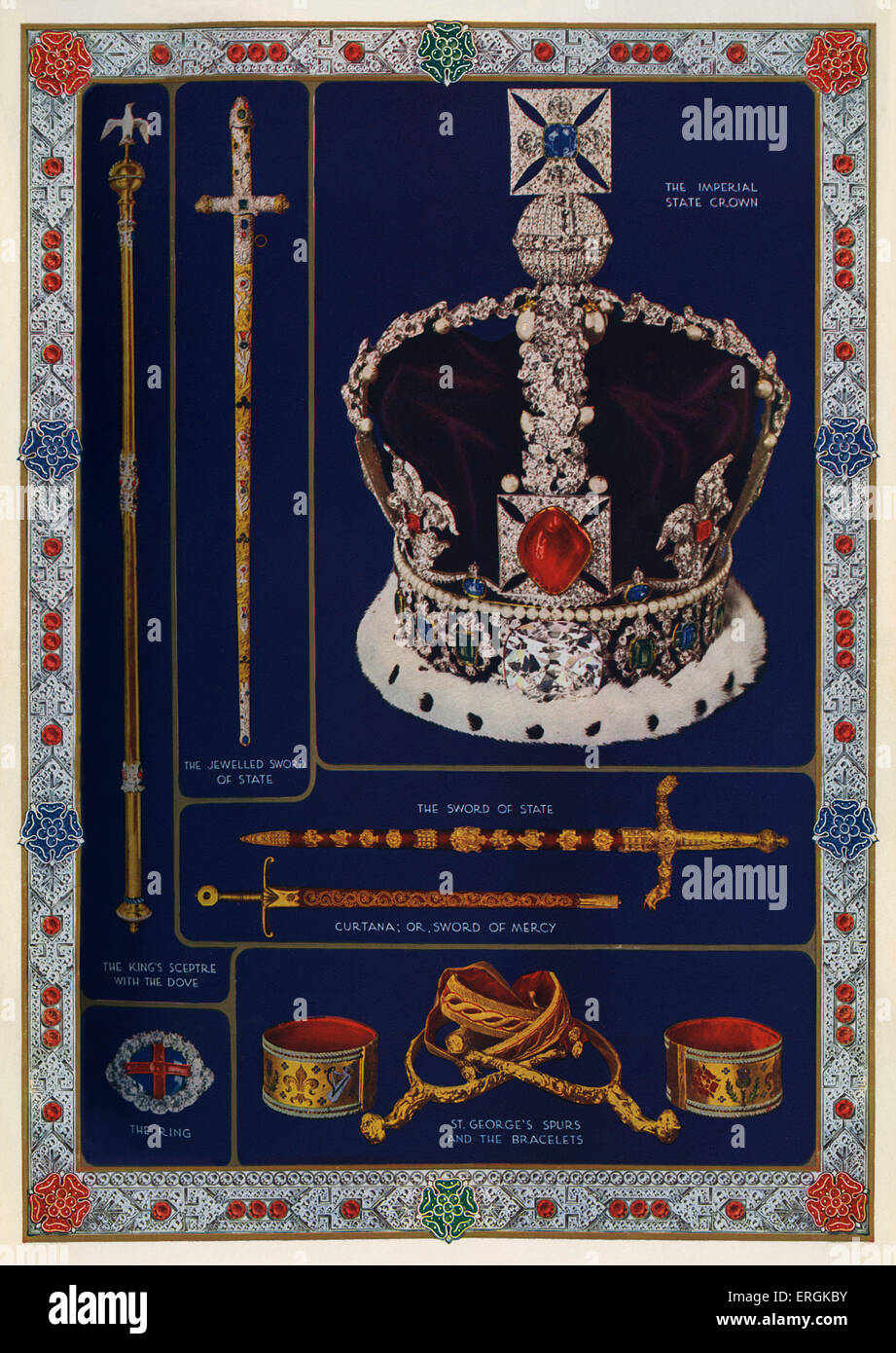 Symbolic objects of Britain's sovereignty, arranged for the coronation of King George VI, 1936. The imperial - Stock Image