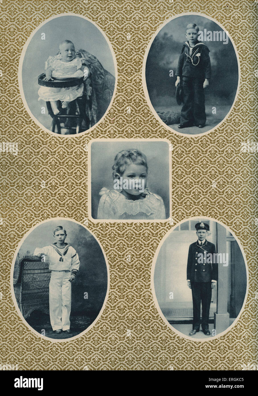King George VI, from one to fifteen, on the occasion of his coronation, 1936. Top left, 1897, aged one; center, - Stock Image