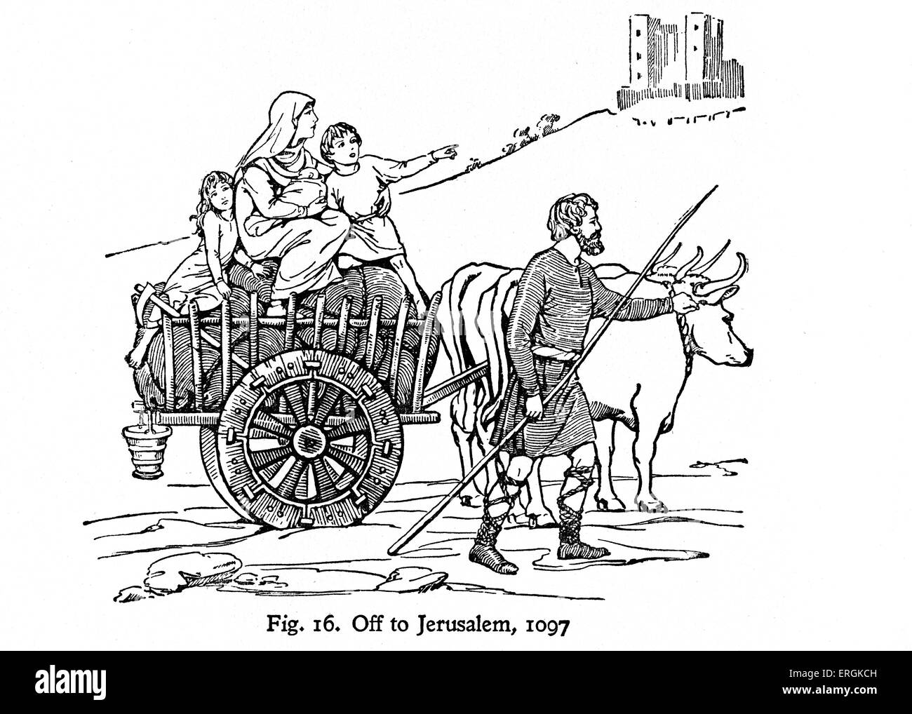 Pilgrims en route to Jerusalem, during the era of the first crusade (1096-99) - Stock Image