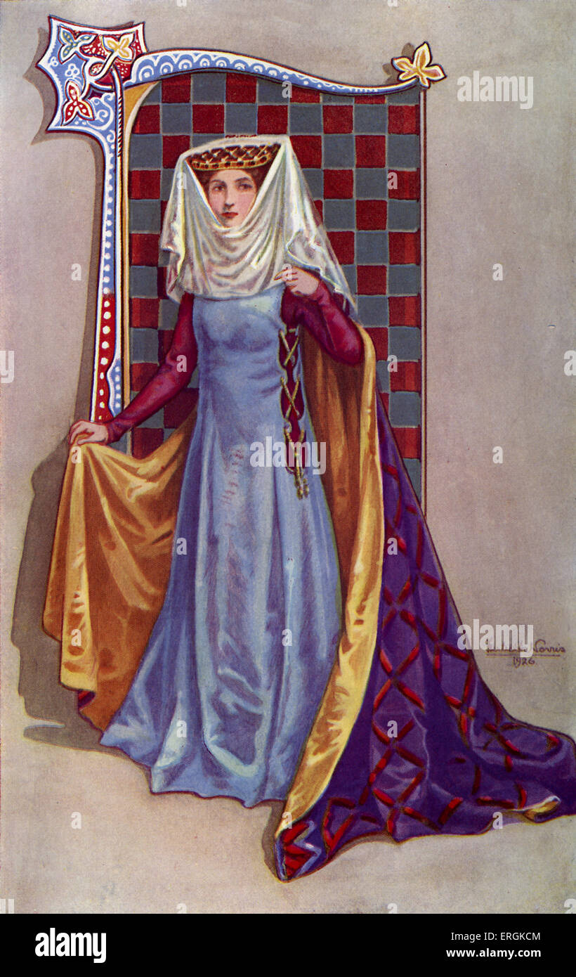 A Medieval Noble Woman From The Period Of Edward II 1284 1327 Her Clothes Reflect Gothic European Fashion Herbert Norris Atist Died 1950