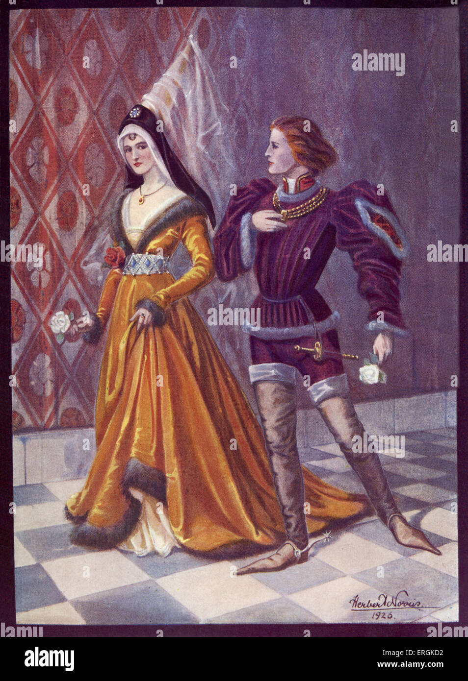 A nobleman and lady, mid 15th century, likely the period of Edward IV (1442-1483). This scene appears to depict - Stock Image
