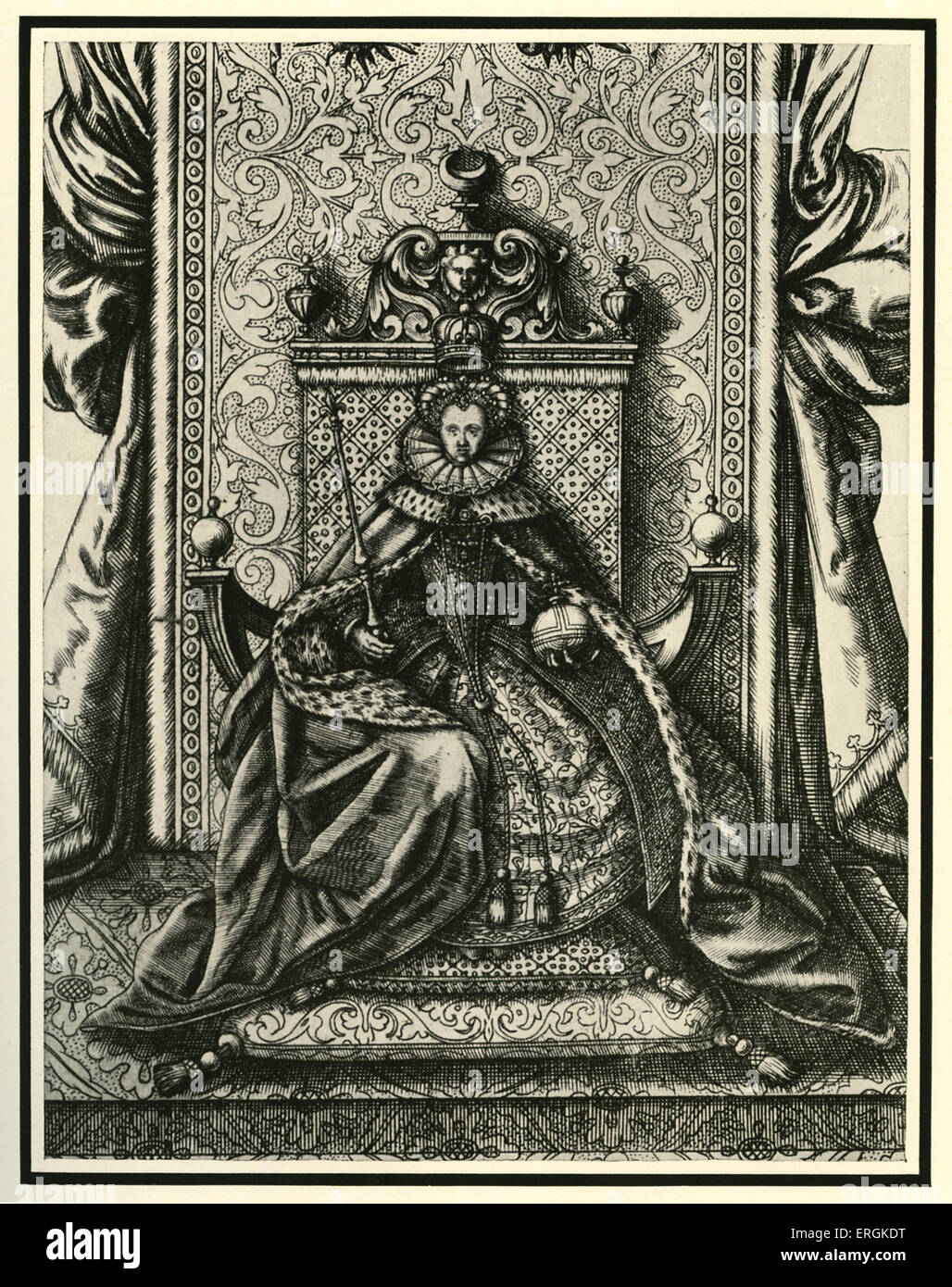 Queen Elizabeth I (1533-1603) seated in Parliament. Prior to Cromwell it  was still traditional for Parliament to regularly