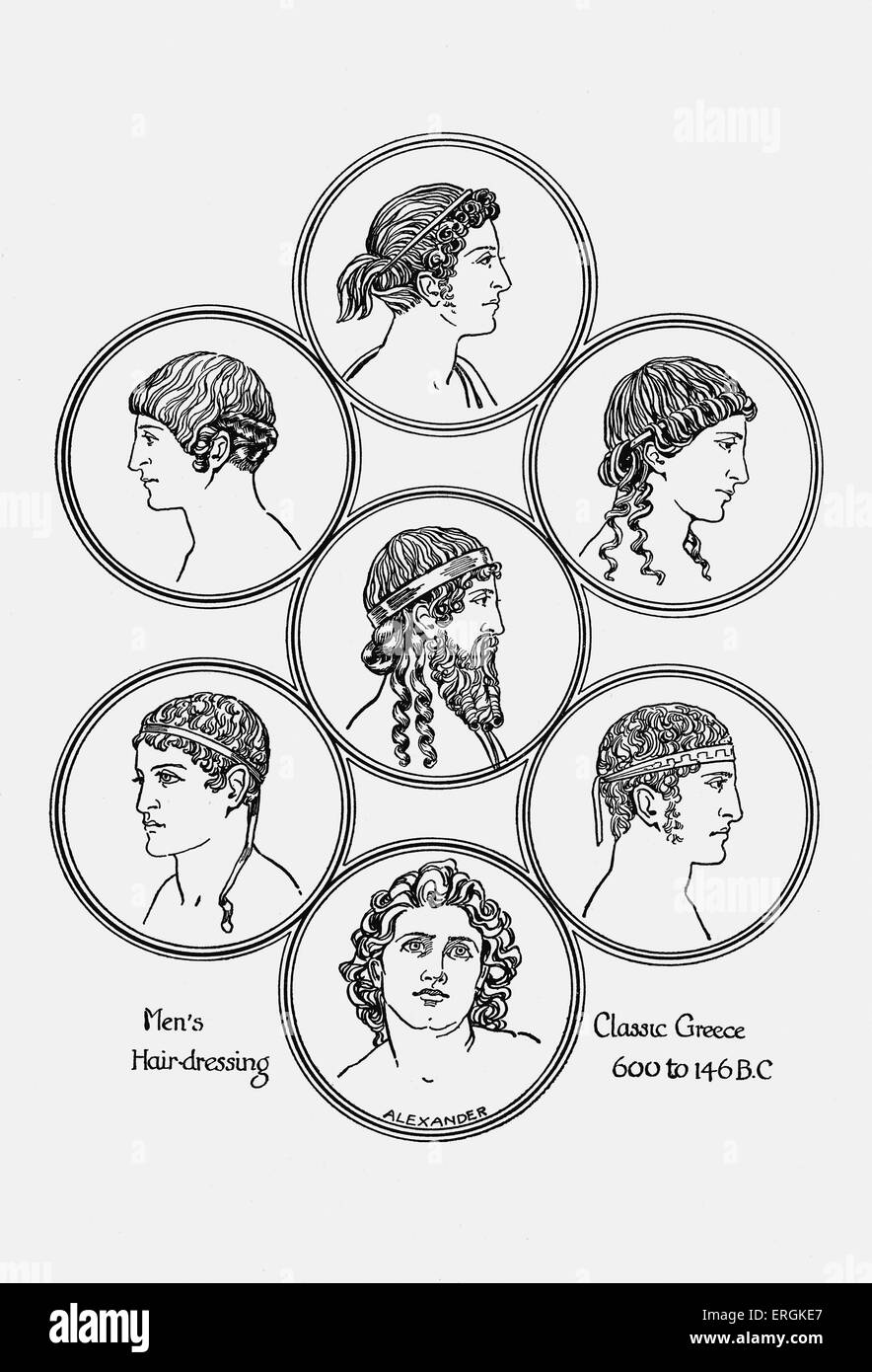Ancient Greek hairstyles. Example of men's hairdressing in classical Greece, 600- 146 BC.  Herbert Norris artist - Stock Image