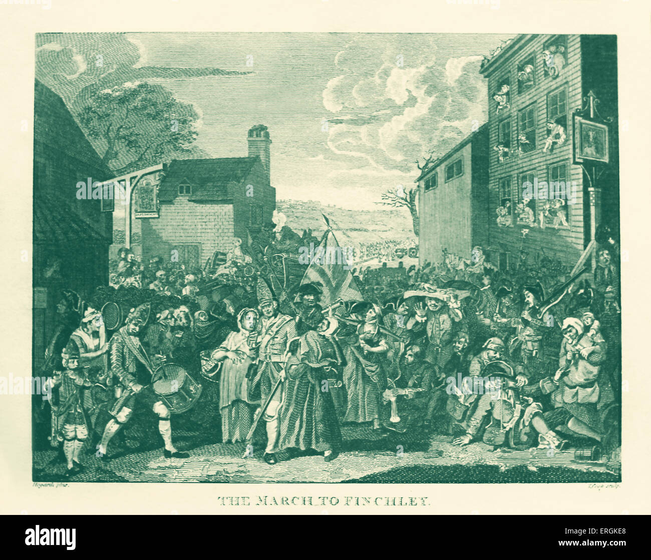 The March to Finchley by William Hogarth, 1750. Engraved by Thomas Cook - Stock Image