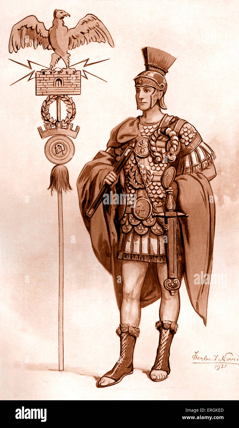 Roman general shown wearing a cuirass.   Herbert Norris artist  died 1950 - may require copyright clearance - Stock Image