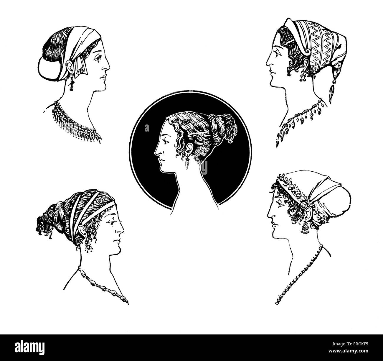 Ancient Greek hairstyles. Example of Ancient Greek female hairstyles and headdresses in 5th Century BC Greece. Herbert - Stock Image