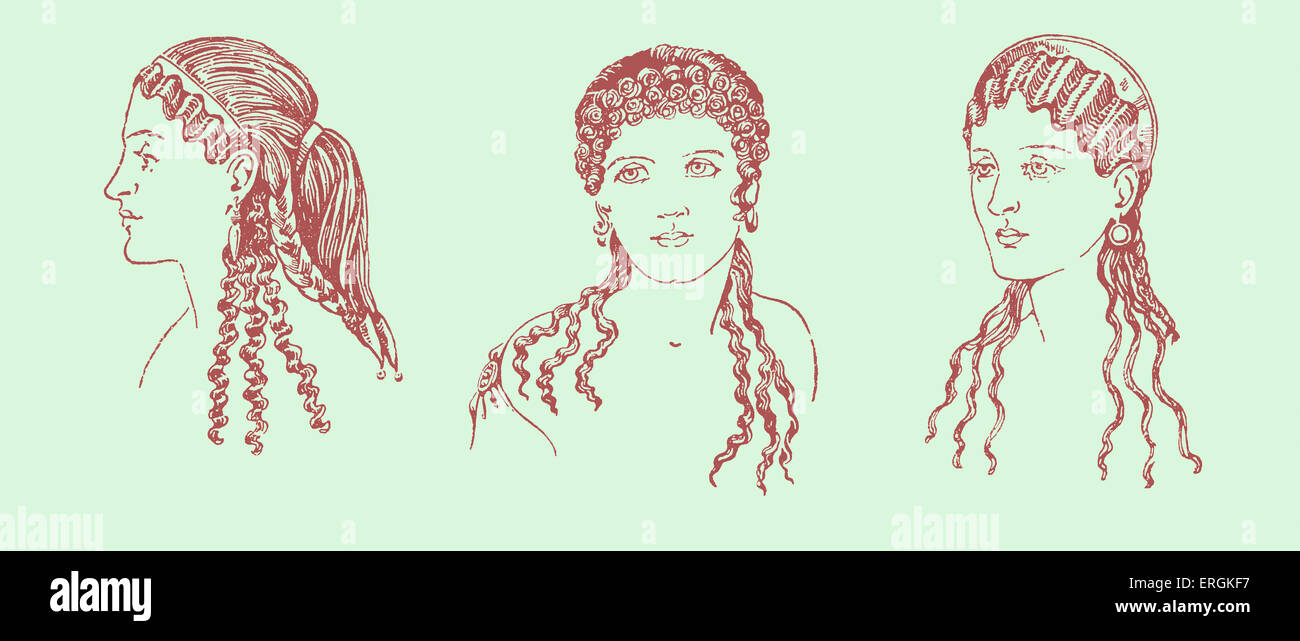 Ancient Greek hairstyles. Example of Ancient Greek female hairstyles and headdresses in 600-468 BC Greece.    Herbert - Stock Image
