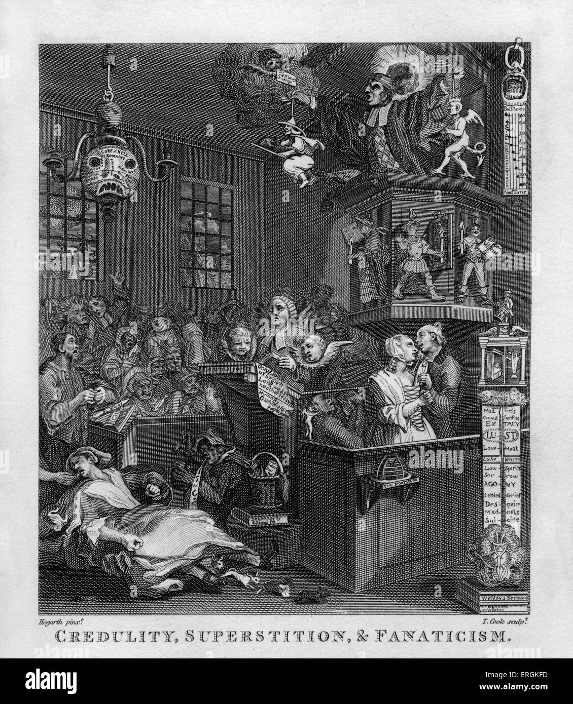 Credulity, Superstition and Fanaticism by William Hogarth, 1762. Engraved by Thomas Cook. The caricature is a satire - Stock Image