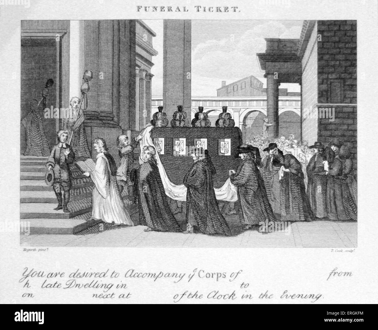 Funeral Ticket by William Hogarth. Engraved by Thomas Cook. Caption reads: 'You are desired to accompany the - Stock Image