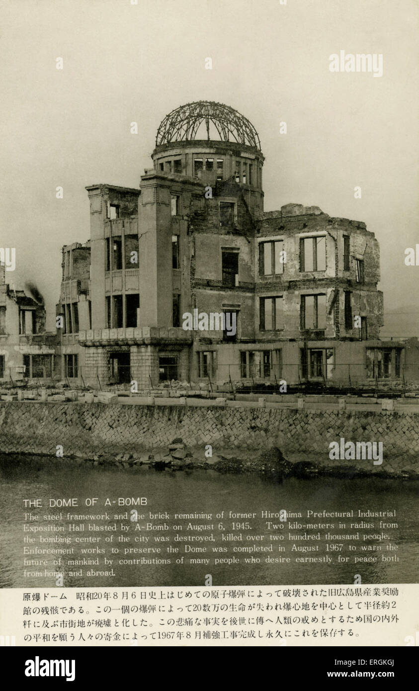 Hiroshima, Japan. Ruins after first Atomic Strike. Caption reads: ' The Dome of A-Bomb: The steel framework - Stock Image