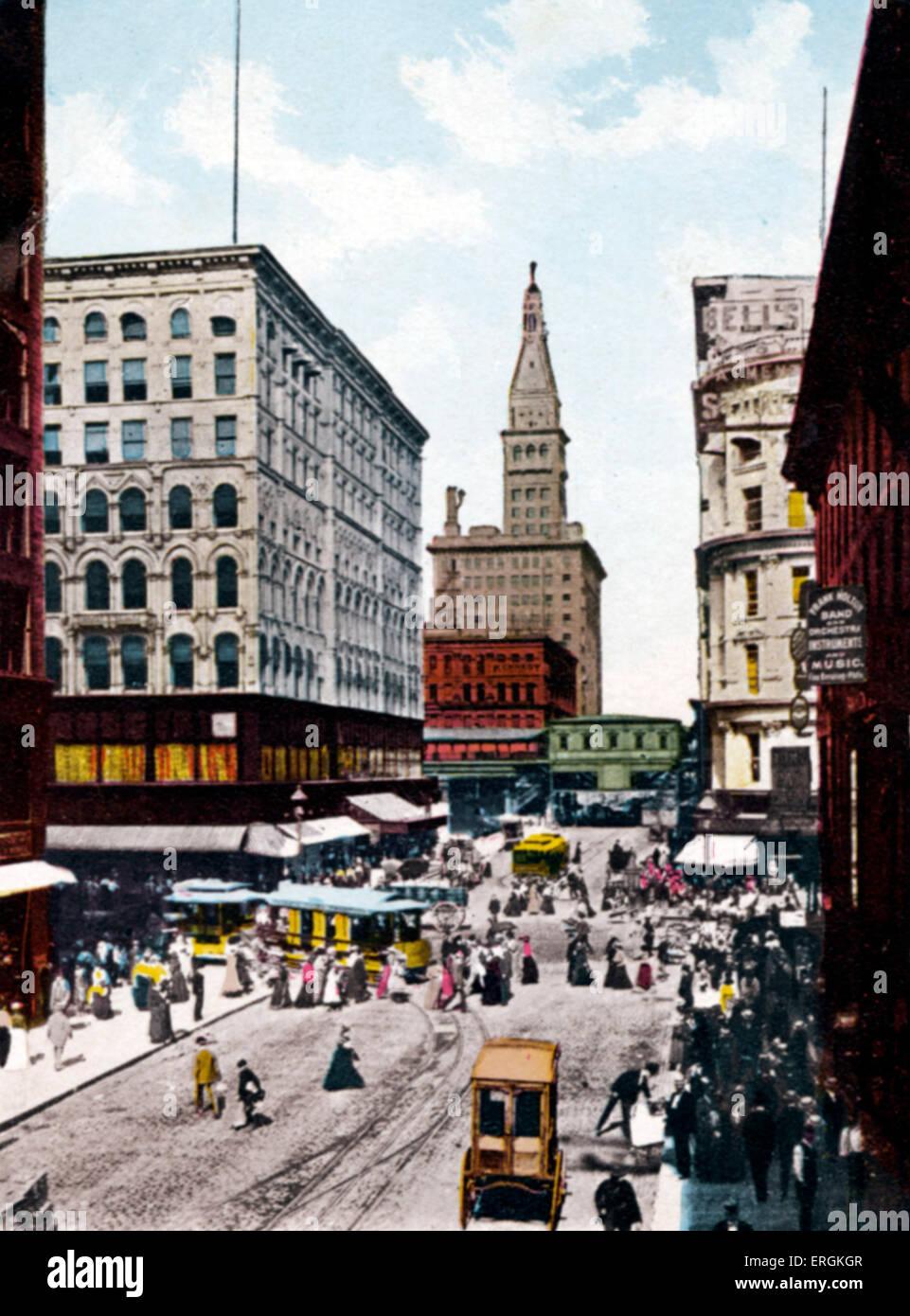 Chicago, Illinois, USA - Madison Street East, early twentieth century. Tramways, tramway.  Tinted photograph. - Stock Image