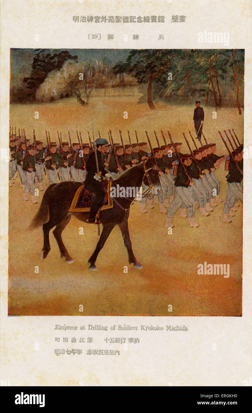 Emperor Meiji (1852-1912) drilling soliders, after an illustration by Kyokuko Machida. - Stock Image