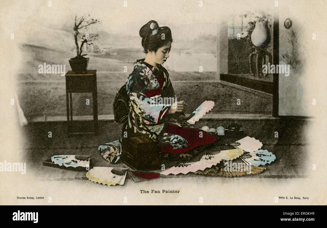Japanese fan painter, mid to late Meiji period (1868-1912). When Japan opened its borders in 1853, its refined arts, - Stock Image