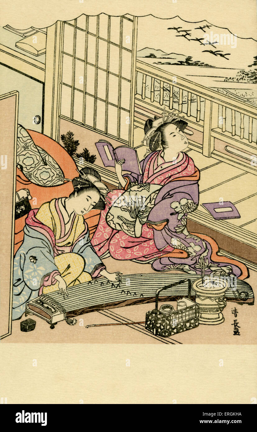 Two Japanese women at court; one plays music, the other reads. Shimbi Shoin, Tokyo, was known from 1899-1938 for - Stock Image