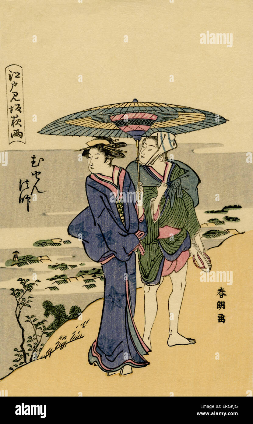 Japanese could outside Edo. Caption translates as 'couple looking back at mountain pass, slopes and rains in - Stock Image