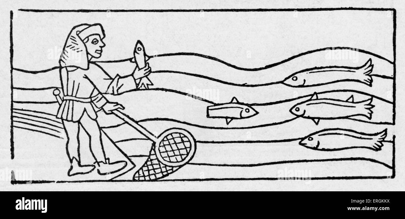 Medieval fisherman with a net - from engraving in 'Dialogus creaturarum', collection of Latin fables of - Stock Image