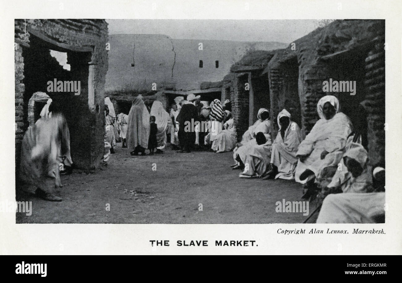 Slave market in Marrakesh, Morocco. Photo by Alan Lennox. Morocco would outlaw slavery in 1922. - Stock Image
