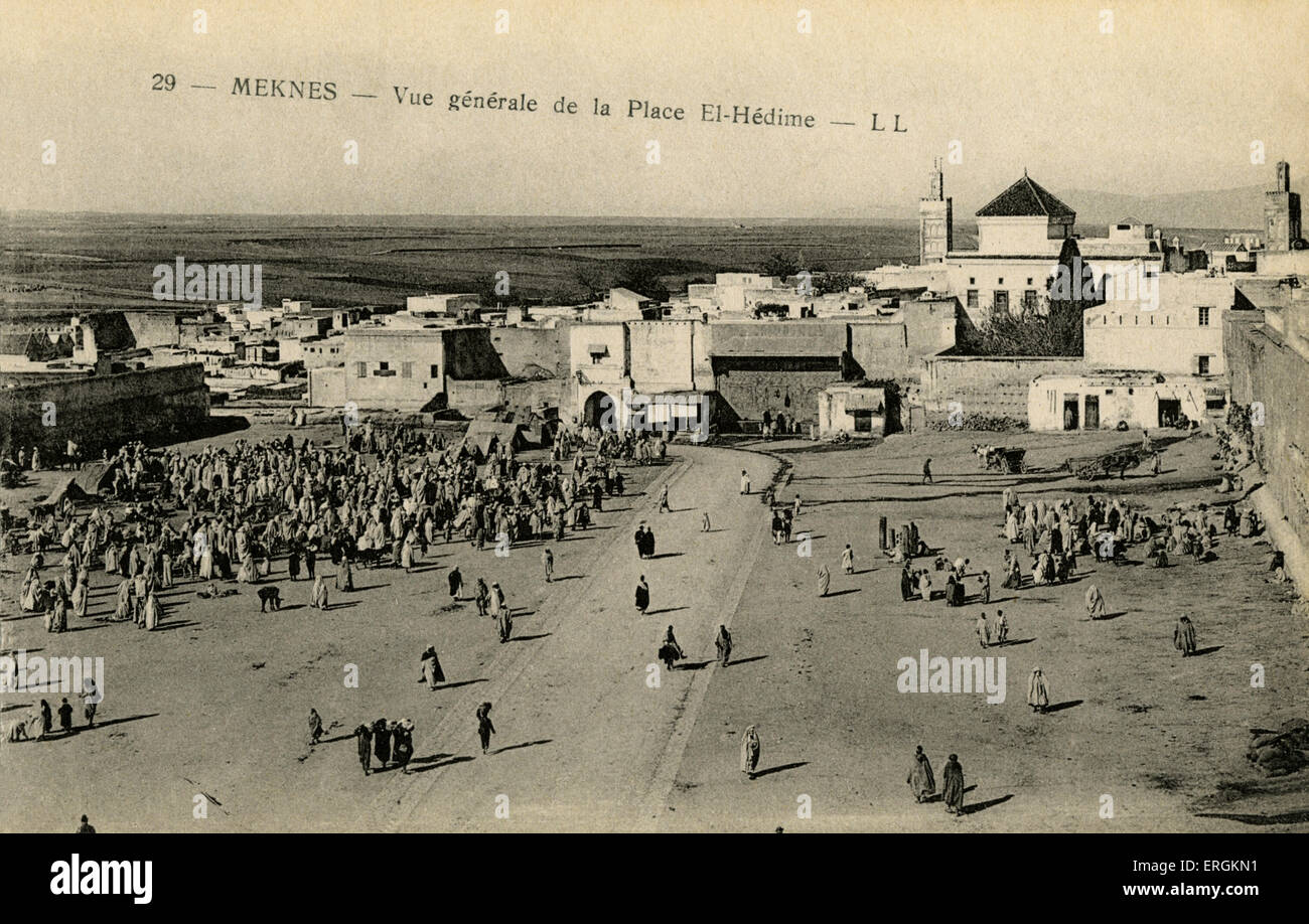 Ariel view of the square El-Hedime, Meknes, Morocco. El-Hedime is the central square in Meknes, where markets were - Stock Image