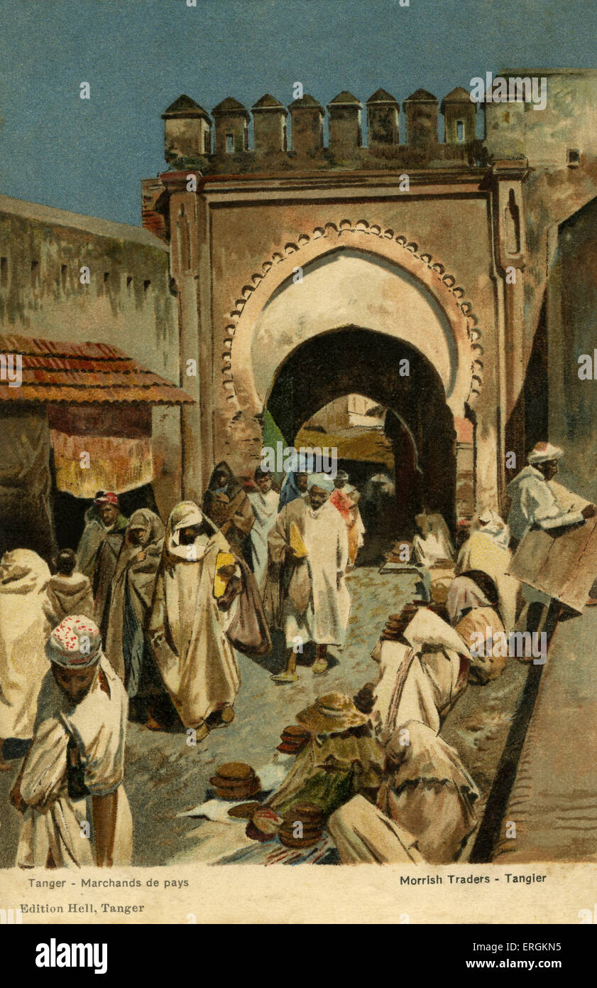 Moroccan merchants in Tangier. Caption reads: 'Marchands de pays' (Merchants of the country). - Stock Image