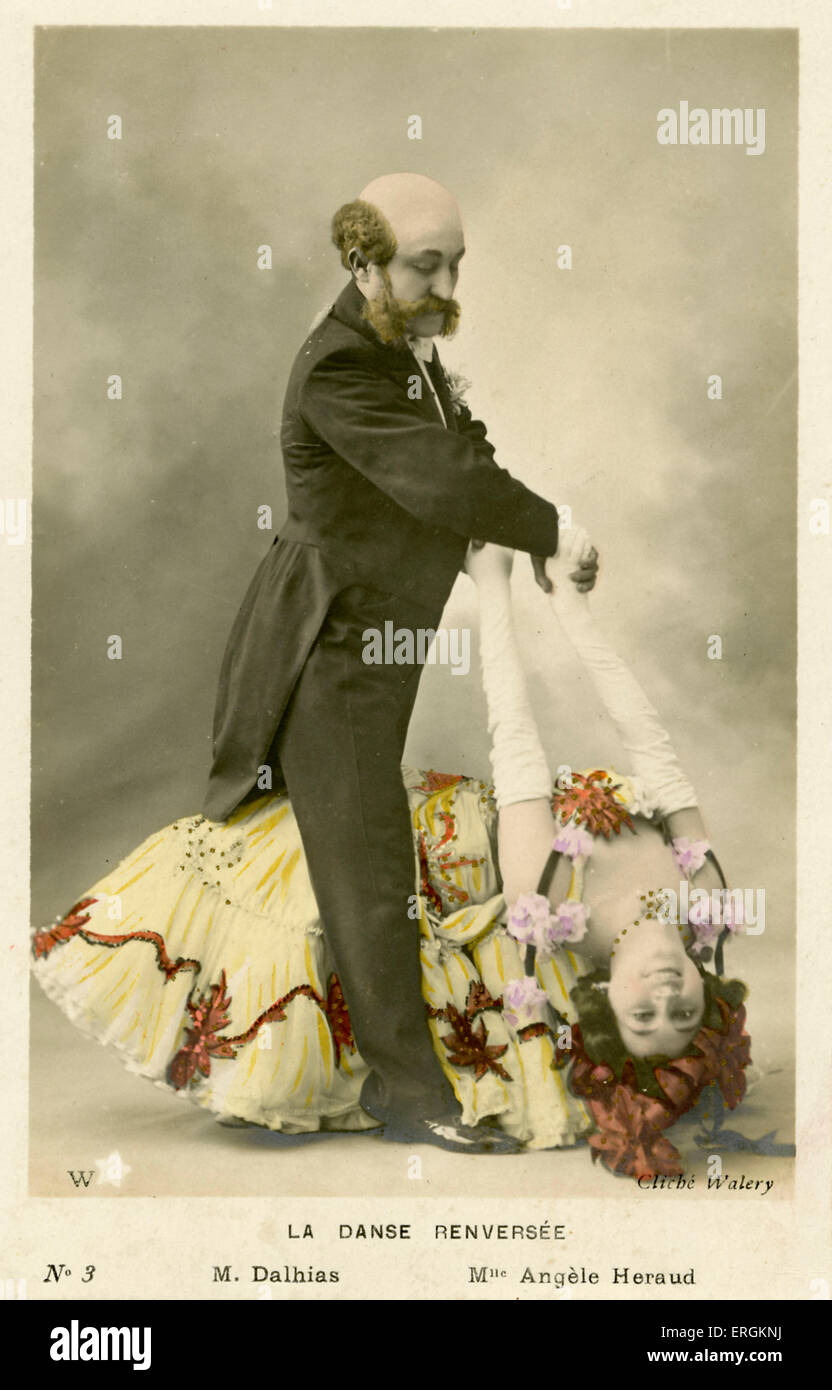 La Danse Renversee (the reverse dance), photographed by Walery in Paris. The dances are captioned as M. Dalhias - Stock Image