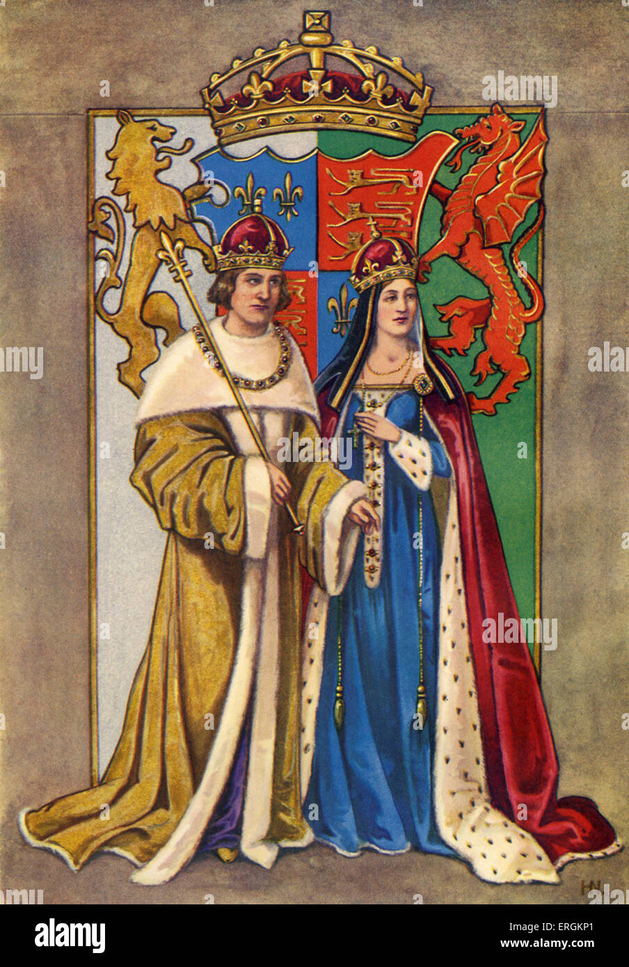 King Henry VII of England (1457-1509) pictured with wife Queen Elysabeth / Queen Elizabeth / Elizabeth of York (1466 Stock Photo