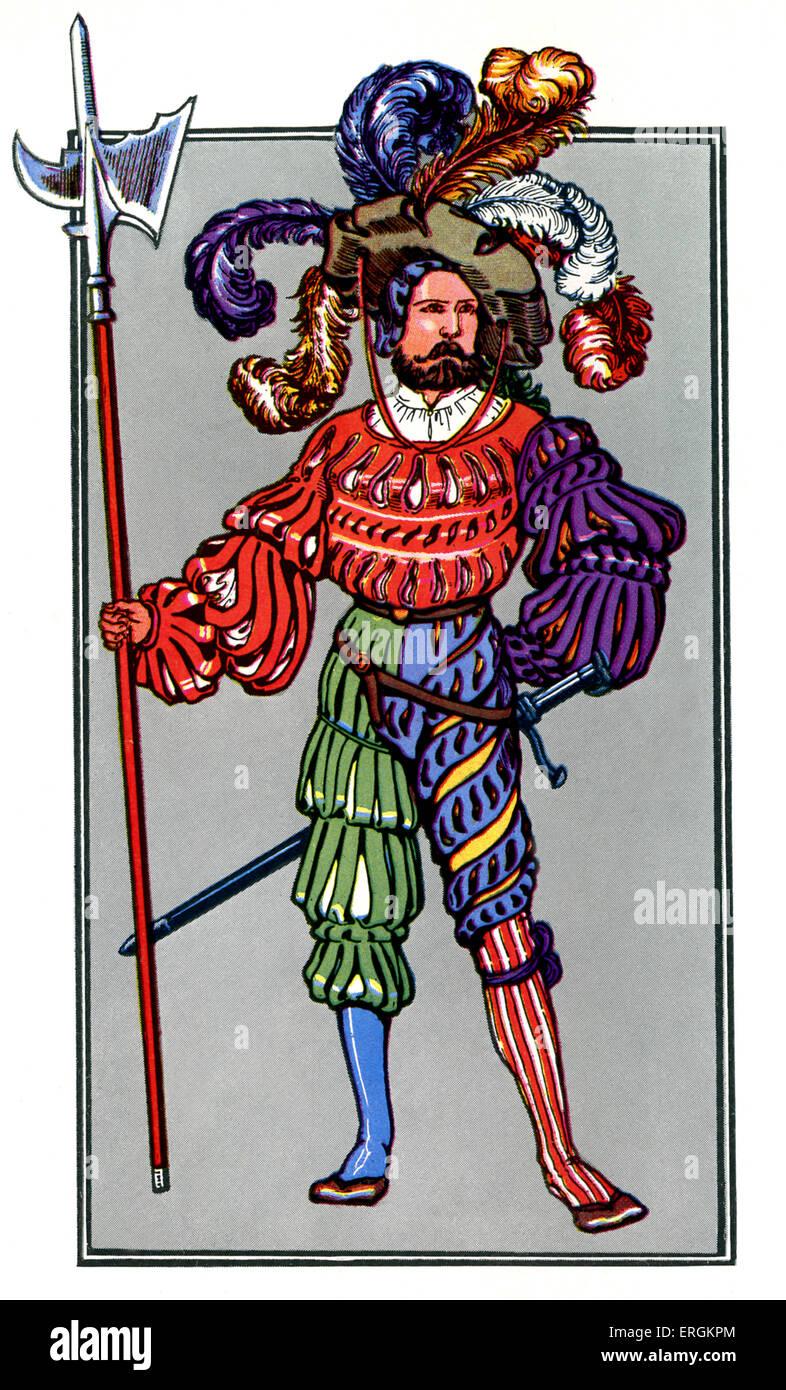 Portrait of a landsknecht - a German mercenary soldier in the early 16th century.  Herbert Norris artist  died 1950 - Stock Image