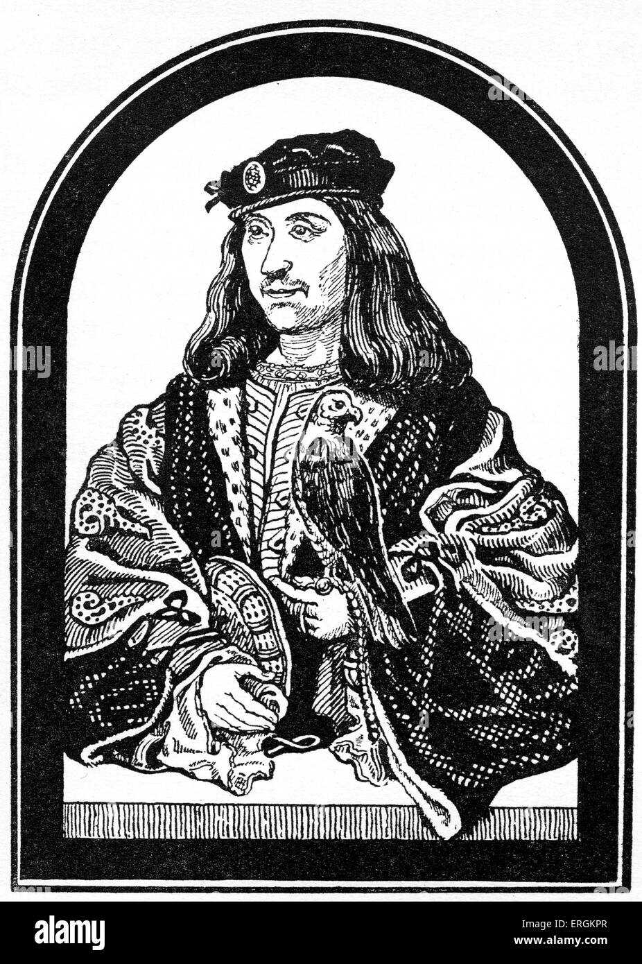 King James IV of Scotland (1473 - 1513). Member of the Stuart / Stewart house  who ruled from 1488 until his death. - Stock Image