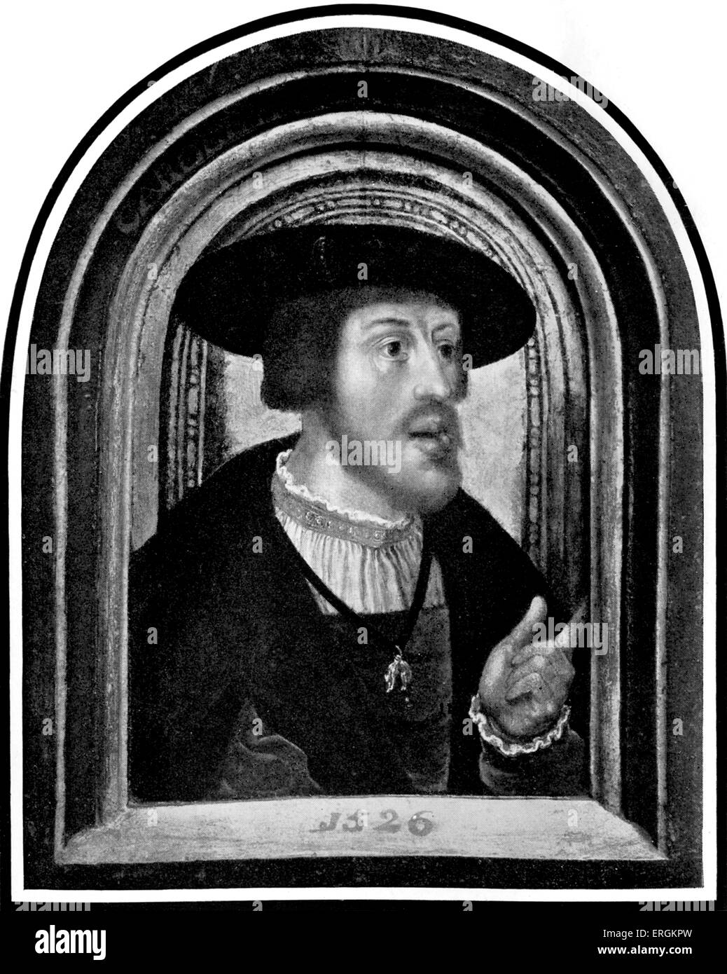 Charles V (1500 - 1558)  in the year of his marriage to Isabella of Portugal (1503 - 1539) in 1526.  Ruler of the - Stock Image