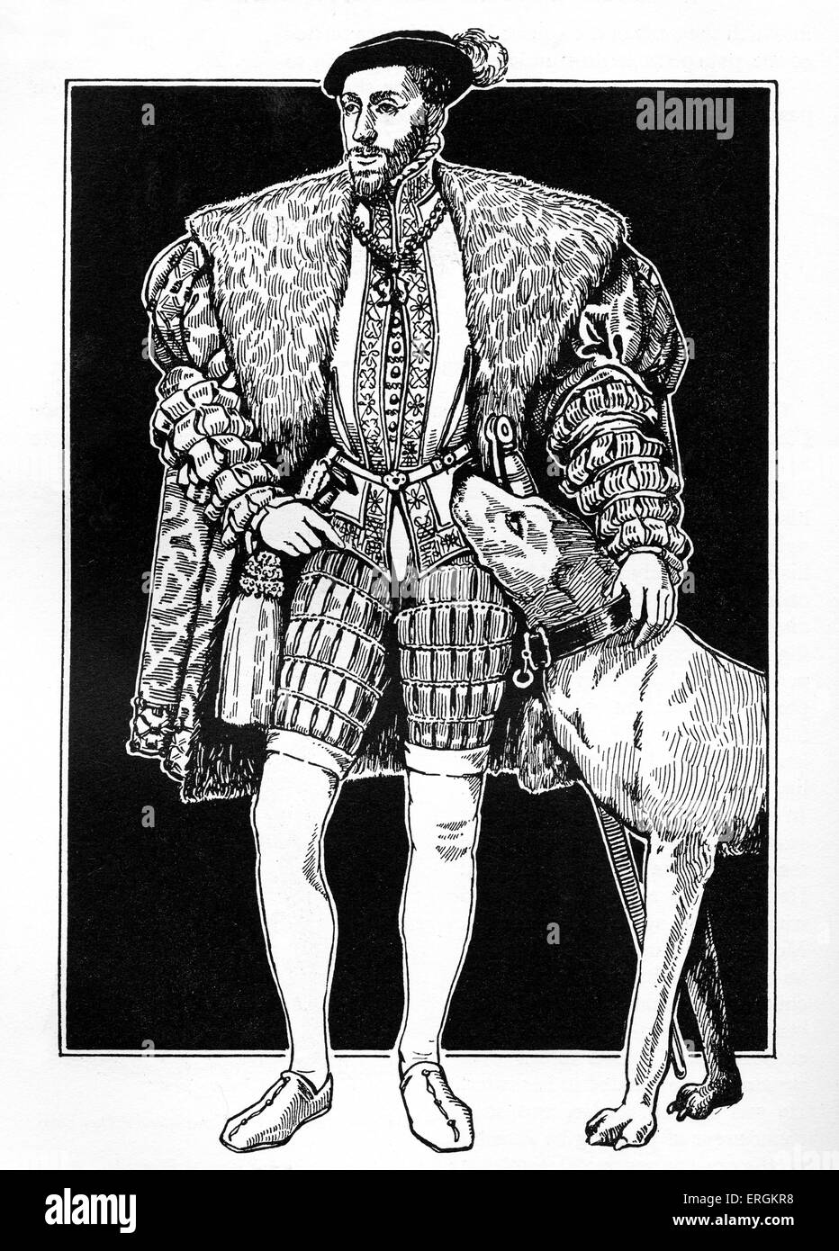 Emperor Charles V (1500 - 1558) with hunting dog. Ruler of the Holy Roman Empire from 1519 and of the Spanish Empire - Stock Image