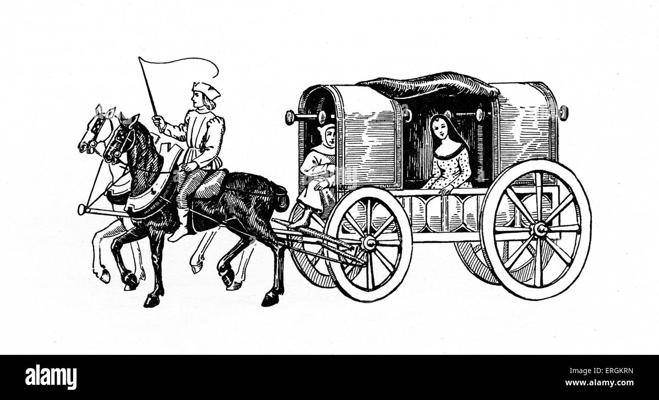 A carriage and pair. Image based on a Flemish manuscript illumination from 1500.After original by  Herbert Norris - Stock Image