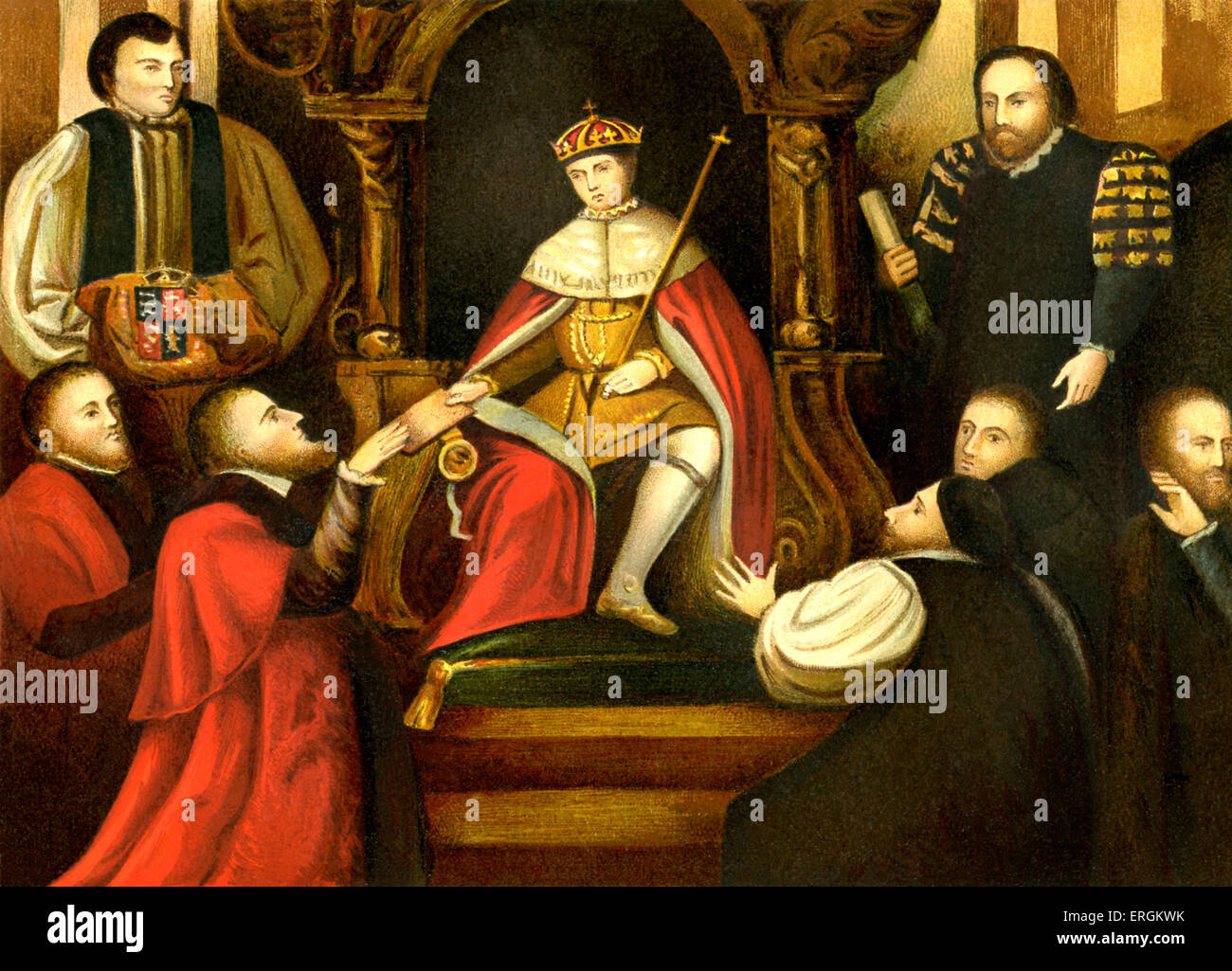 King Edward VI ( 2 October 1537 – 6 July 1553). Seen confirming his father's (Henry VIII) gift of Christ's - Stock Image
