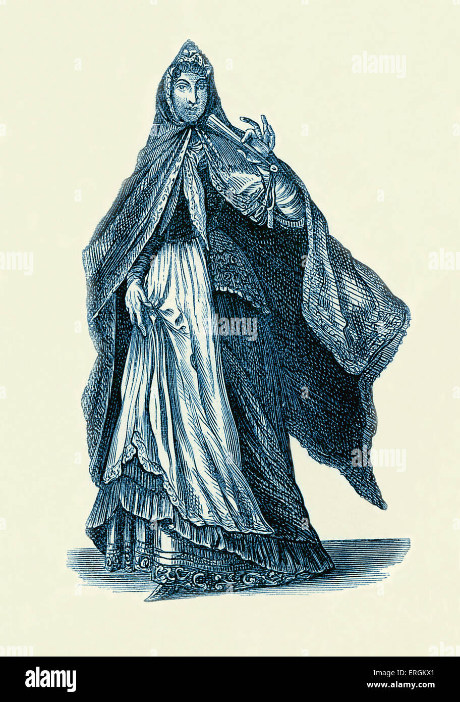Lady of Strasburg / Strasbourg, 1703. Example of female fashion in early 18th century France. - Stock Image