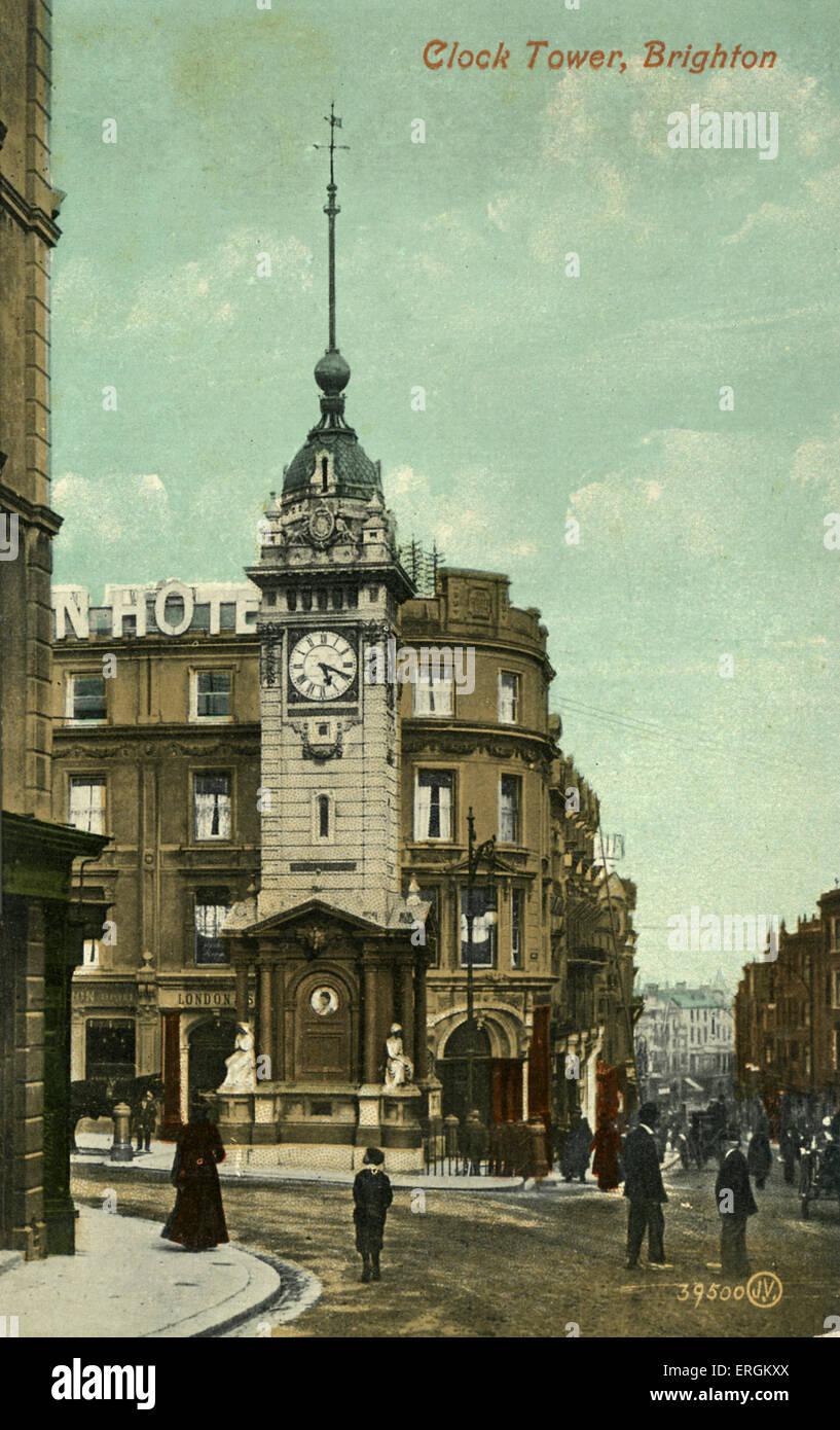 Clock tower in Brighton, built in 1888 to commemorate Queen Victoria's Golden Jubilee. - Stock Image