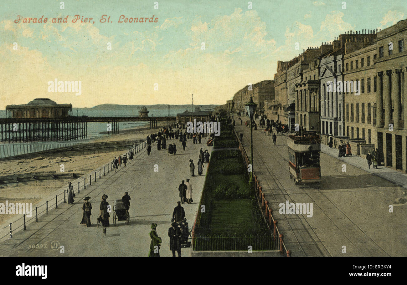 St. Leonards on sea, Hastings. In the late 19th century, when this photo was taken, St. Leonards had not yet become - Stock Image