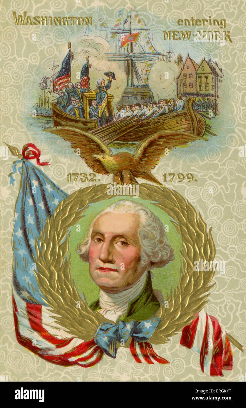 George Washington (1732-1799) entering New York. In November 1783 the British evacuated New York, and Washington - Stock Image