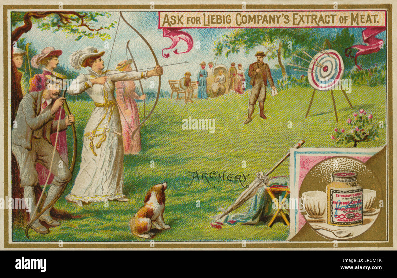 A game of archery. Liebig card, English sports, 1895. - Stock Image