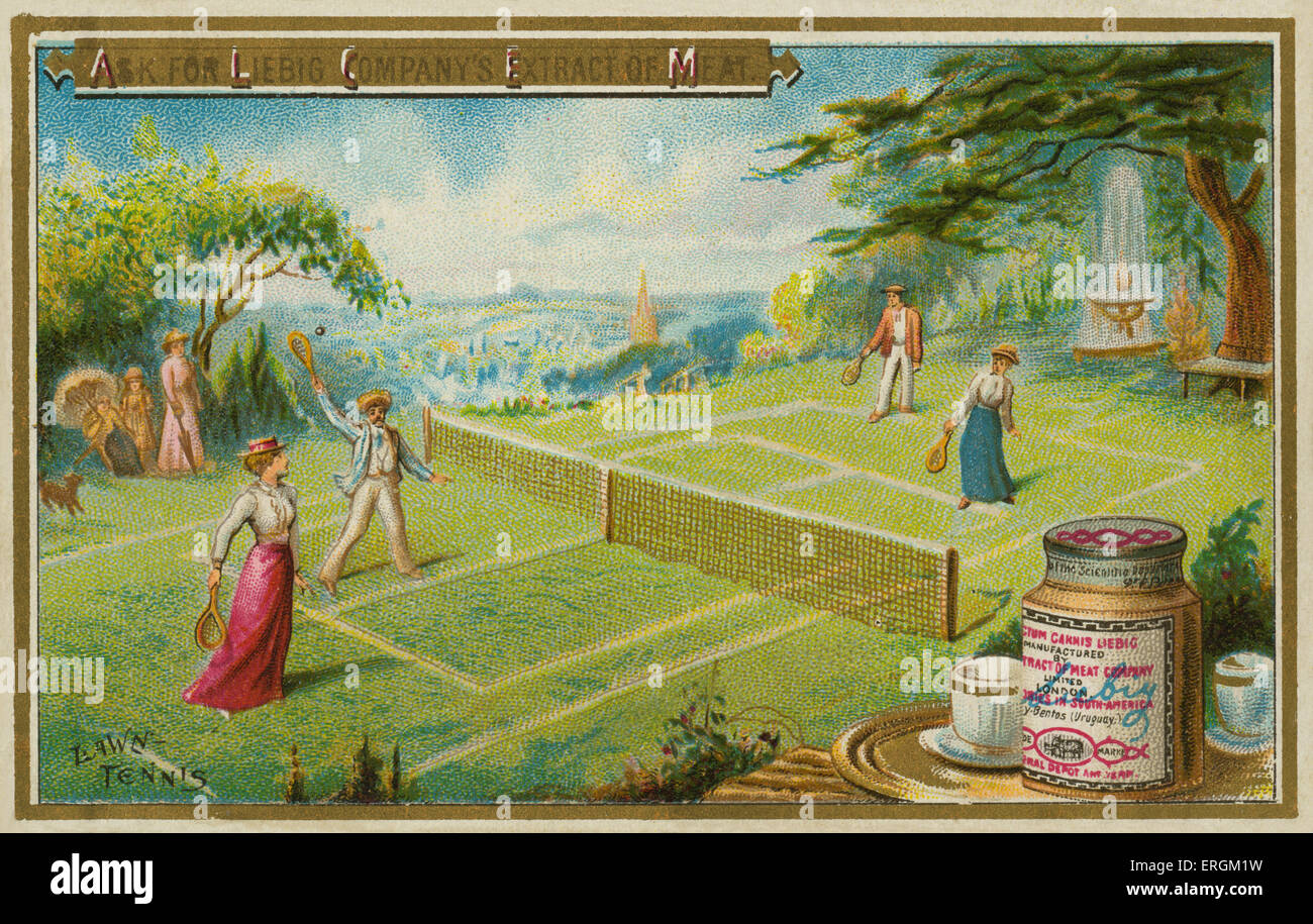 A lawn-tennis match. Liebig card, English sports, 1895. - Stock Image