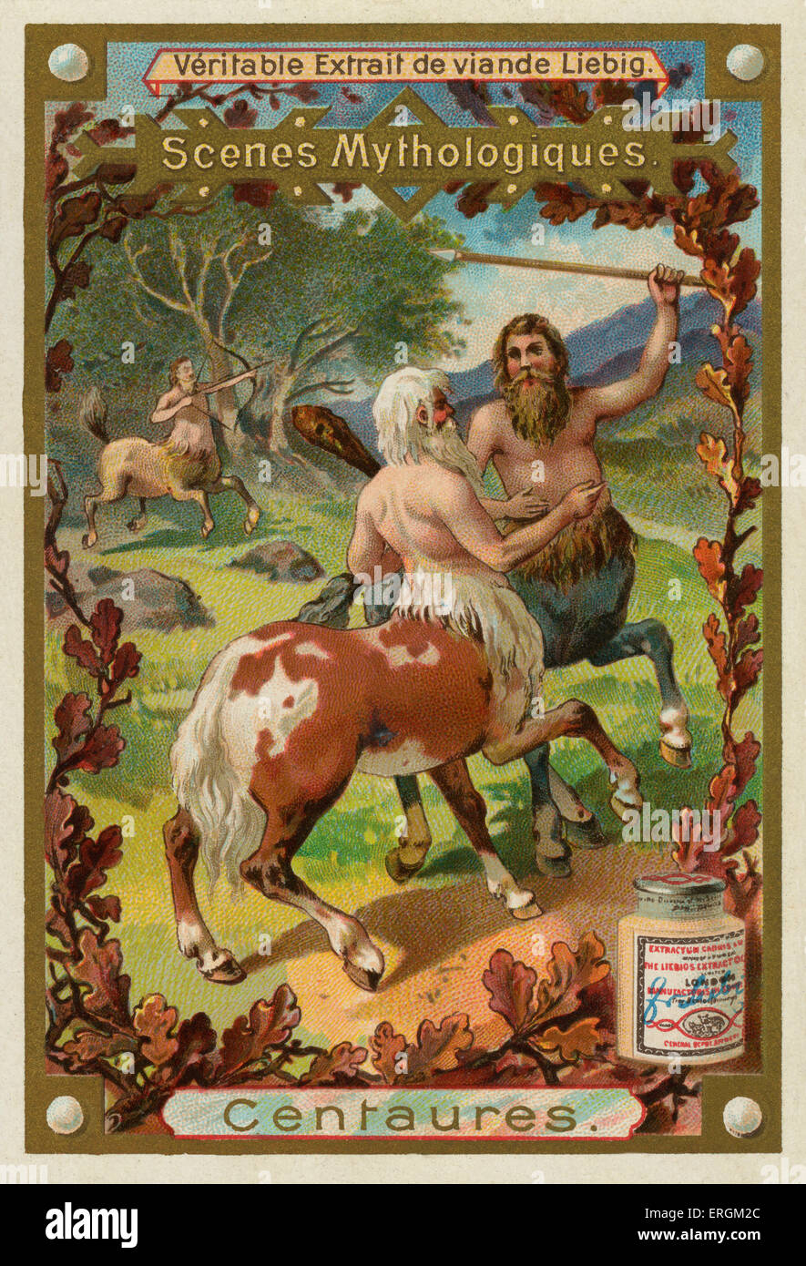 Centaur- a member of a composite race of creatures, part human and part horse. Liebig card, Mythological Scenes - Stock Image