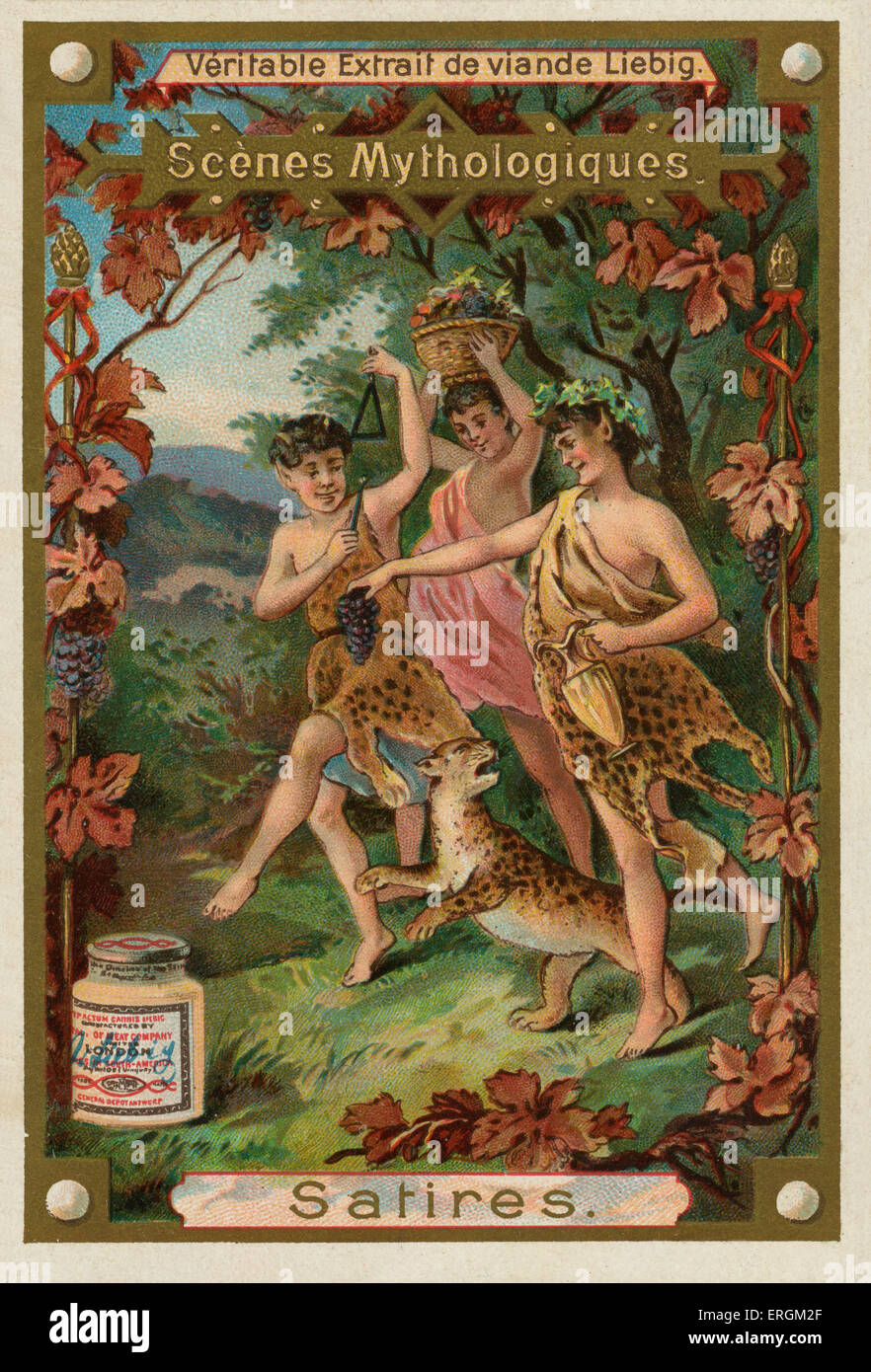 Satyr/ Satires- one of a troop of male companions of Pan and Dionysus with goat-like features. Liebig card, Mythological - Stock Image