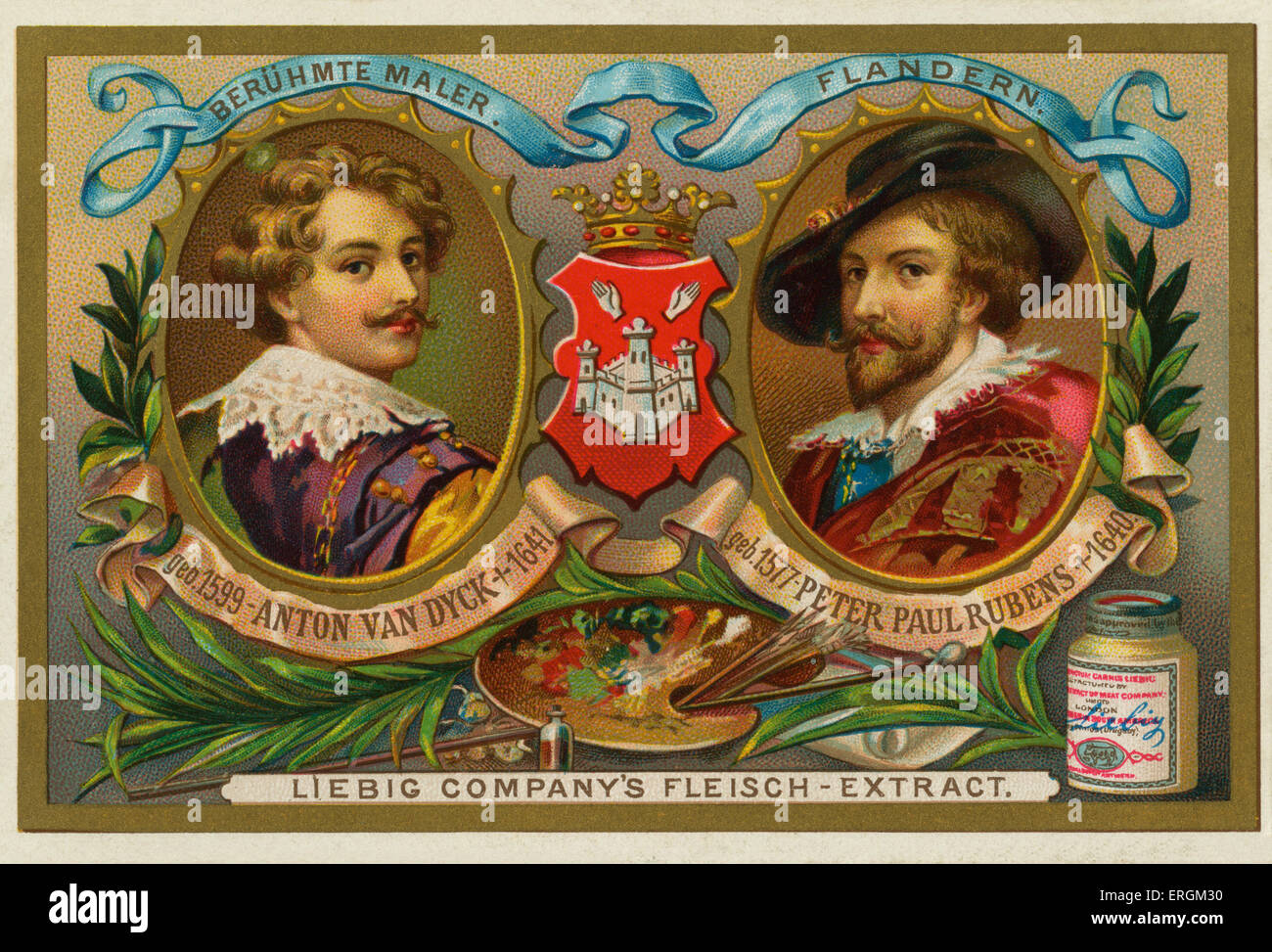 Anton van Dyck (1599-1641) and Peter Paul Rubens (1577-1640) - famous Flemish baroque artists. Liebig card, famous - Stock Image