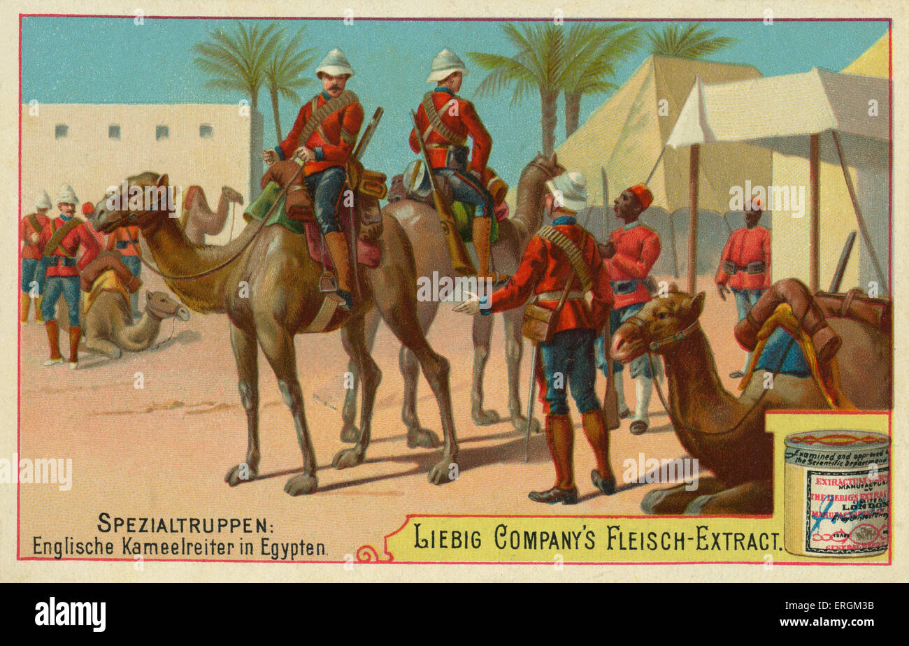 English camel cavalry in Egypt. (German:Englische Kameelreiter in Egypten). Liebig card, Special Troops,1897. - Stock Image