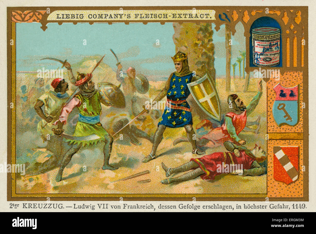 Louis VII of France defeated in the Second Crusade (1145–1149), 1149. (German: 2ter Kreuzzug- Ludwig VII von Frankreich, - Stock Image