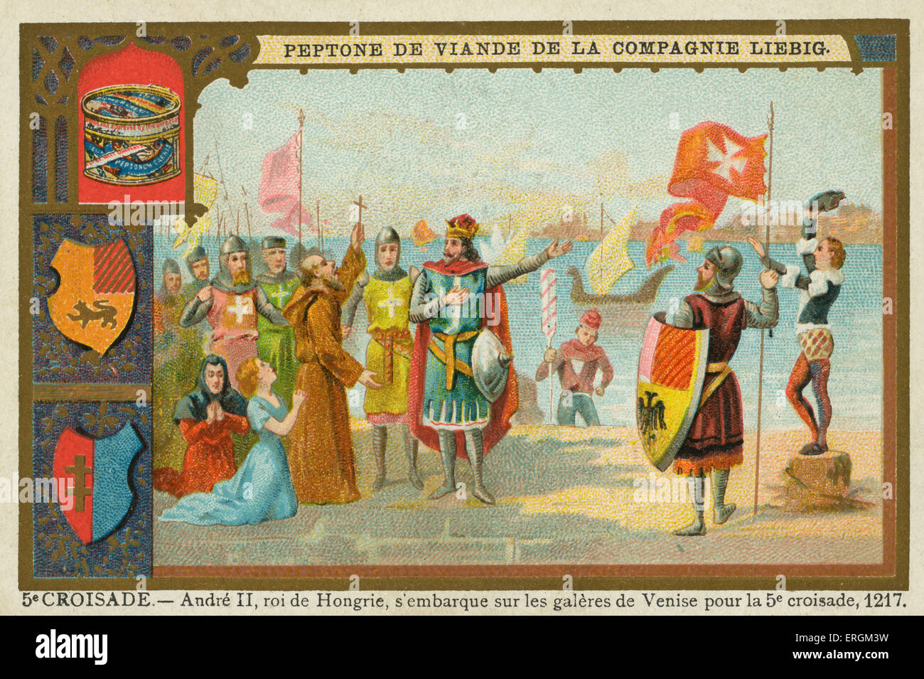 Andrew II, King of Hungary, leaving Venice for the Fifth Crusade (1213–1221), 1217. (French: 5e croisade- Andre - Stock Image