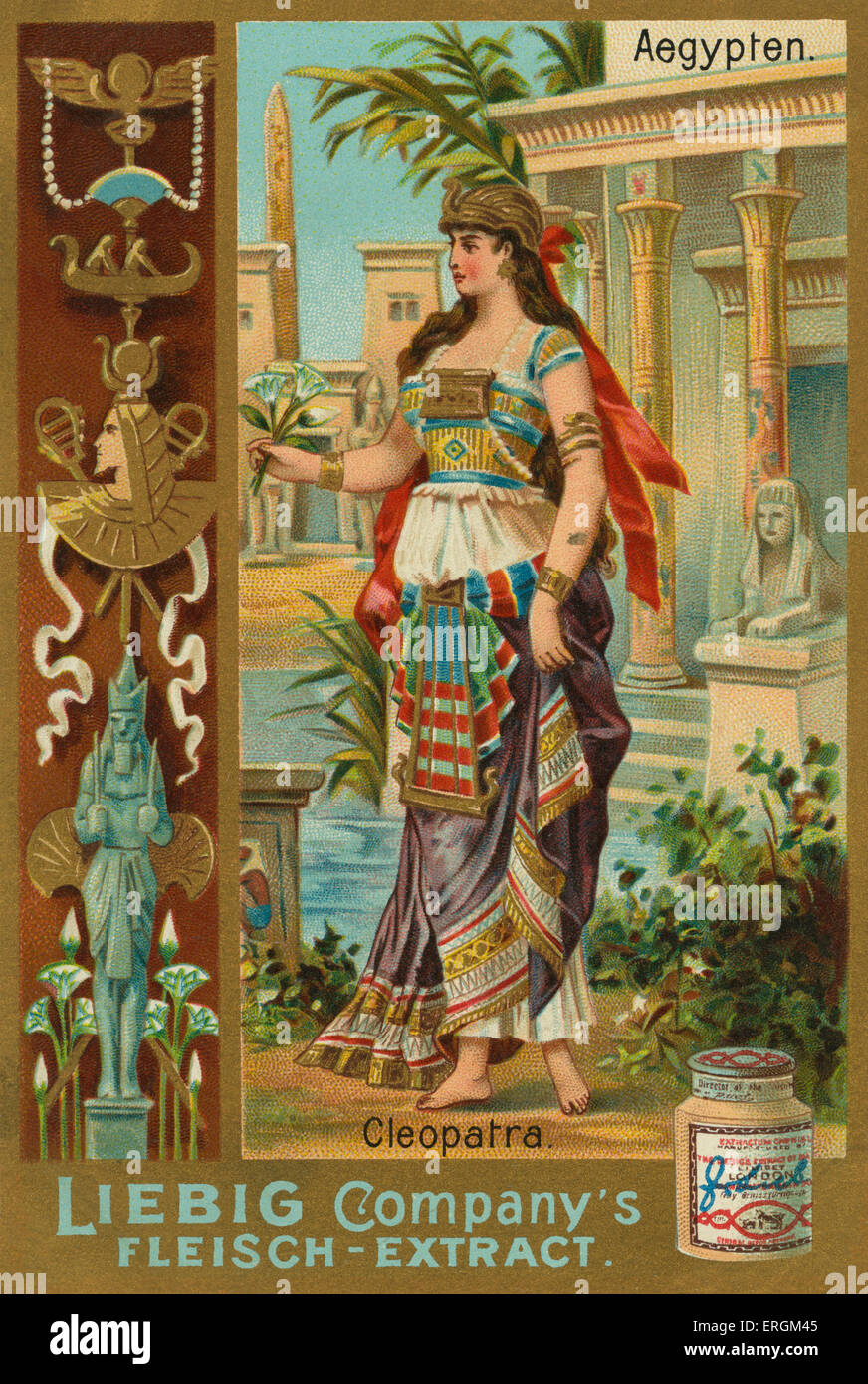 Cleopatra (69 BC –30 BC) - the last pharaoh of Ancient Egypt (51–30 BC). Liebig card, Famous women of ancient times, - Stock Image