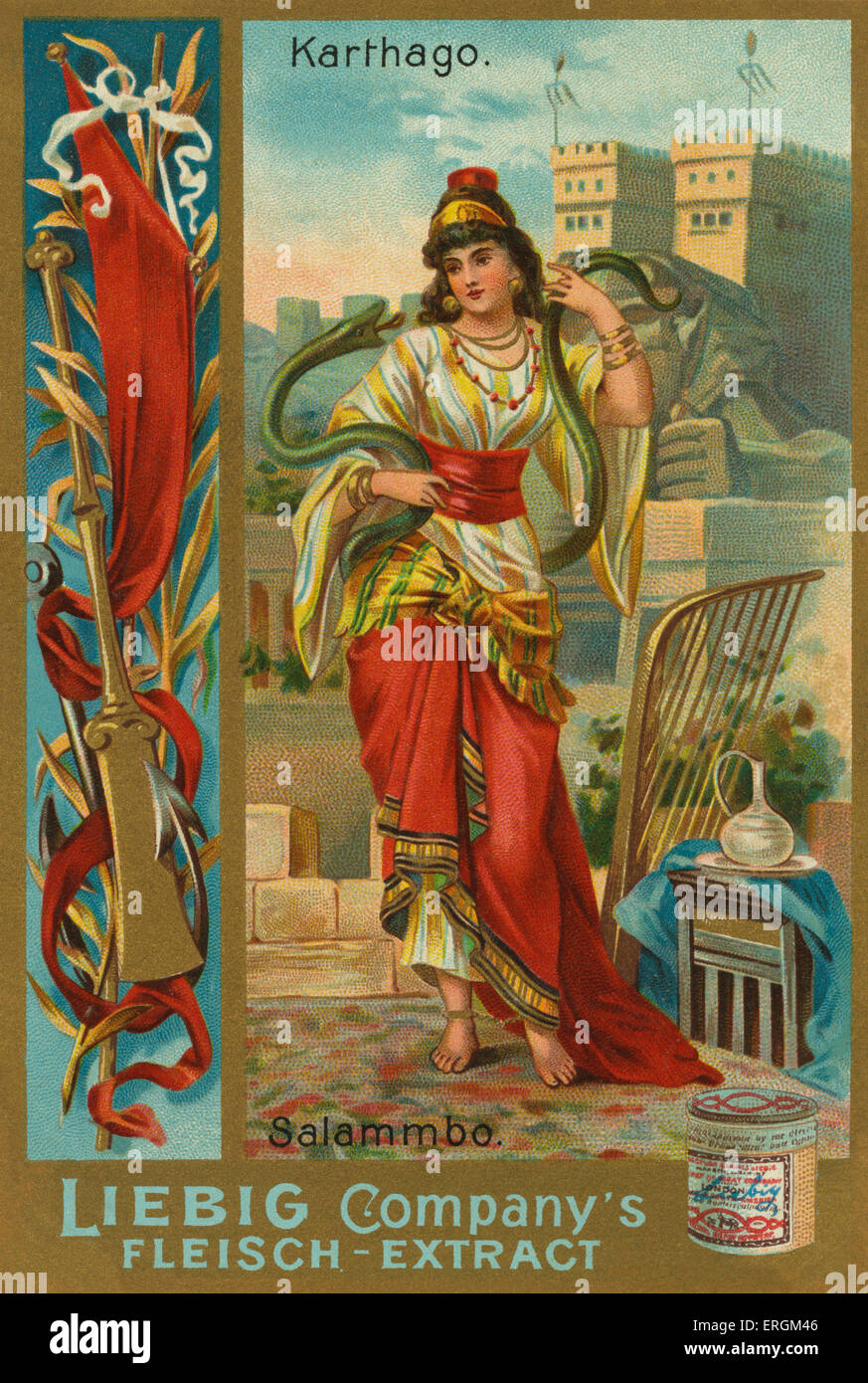 Salammbo- daughter of Carthaginian general Hamilcar (c. 275 – 228 BC). Liebig card, Famous women of ancient times, - Stock Image