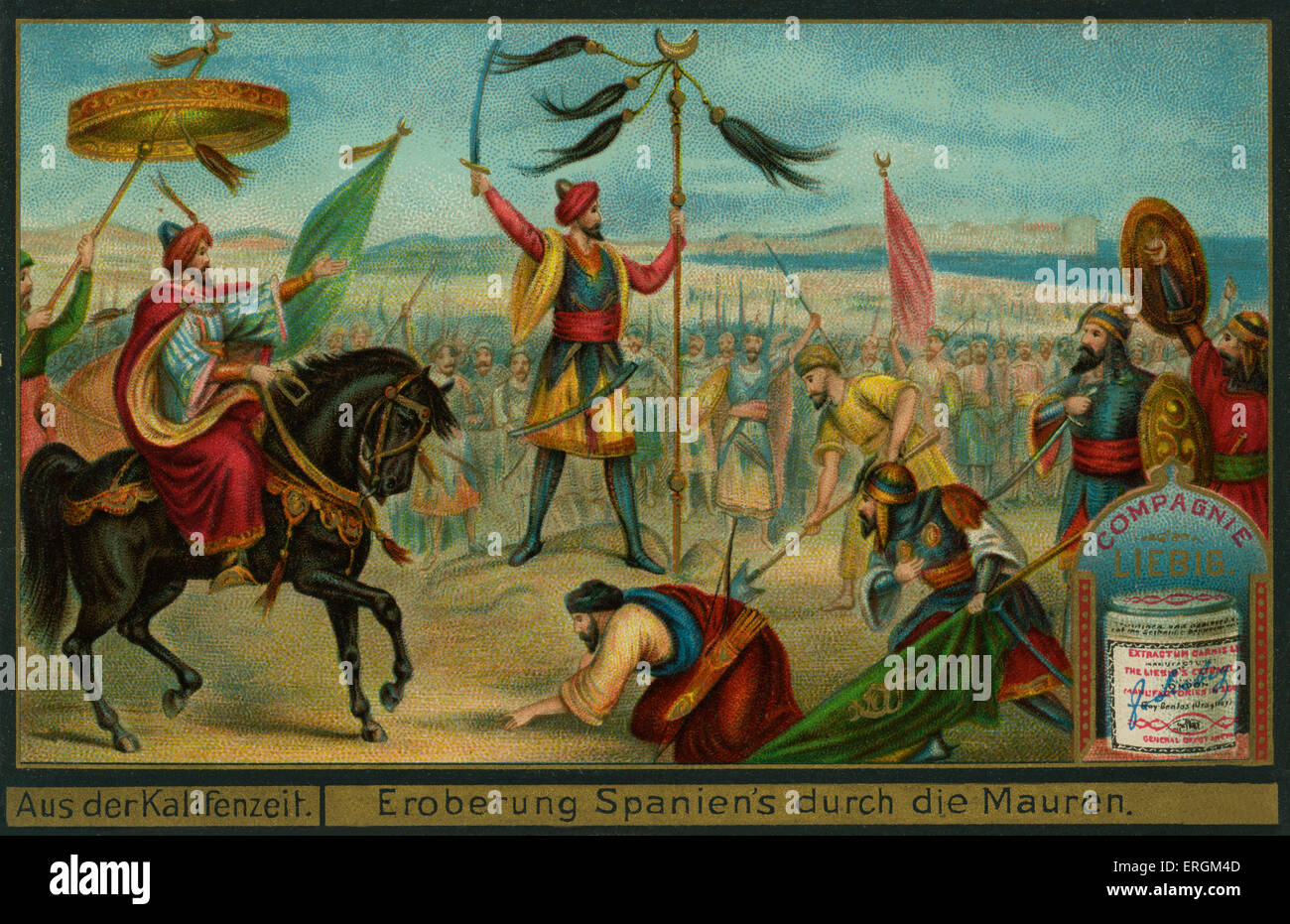 The Moors conquer Spain, 711 AD. (German: Eroberung Spaniens durch die Mauren) .Liebig card, Episodes from the Caliphate, Stock Photo