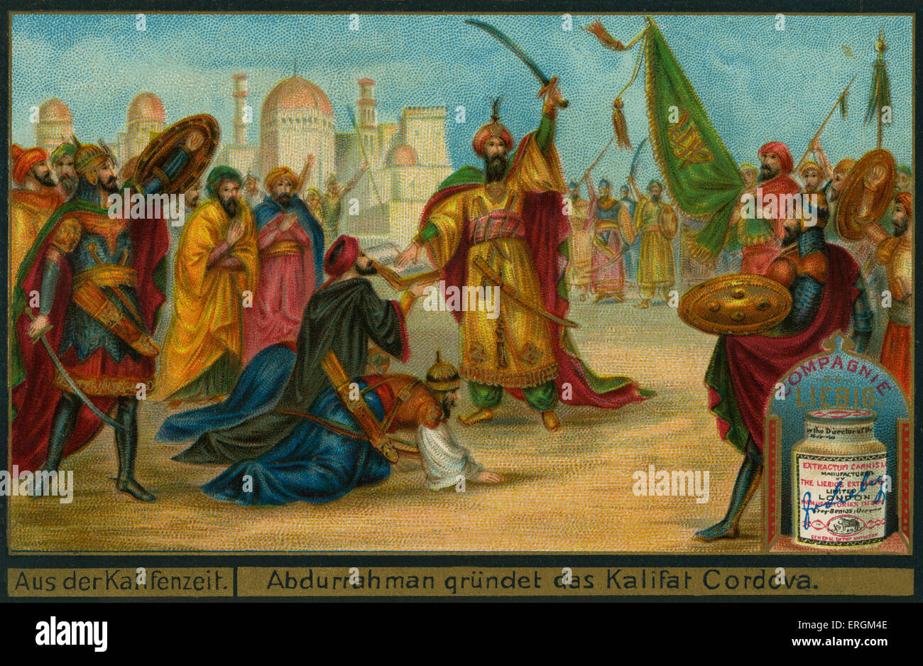 Abd-ar-Rahman III proclaims himself Caliph of Cordoba (German: Abdurrahman gründet das Kalifat Cordoba) . Abd-ar Stock Photo