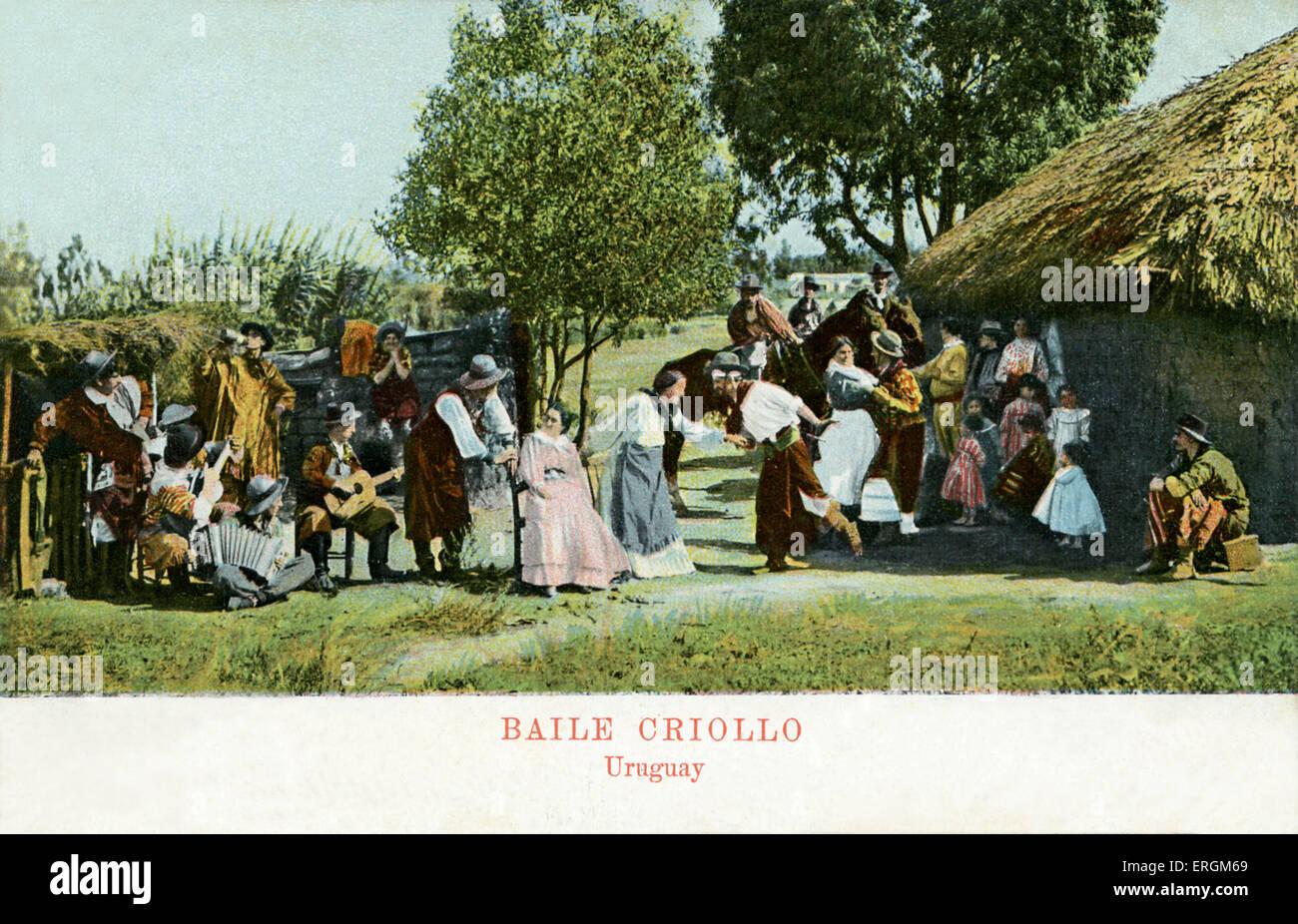 Baile Criollo/ creole dance. Folk dancing in Uruguay.  Early 20th century postcard. - Stock Image