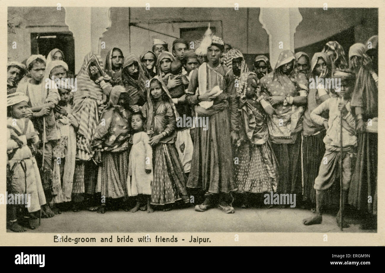 Husband and Wife in marriage dress, Jaipur, India. Photograph from ...